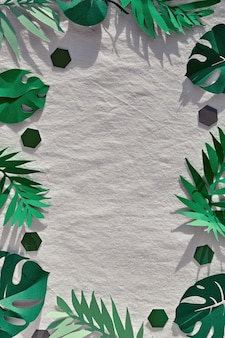 Exotische blätter, papierpalmen und monsterblätter auf textilem leinen