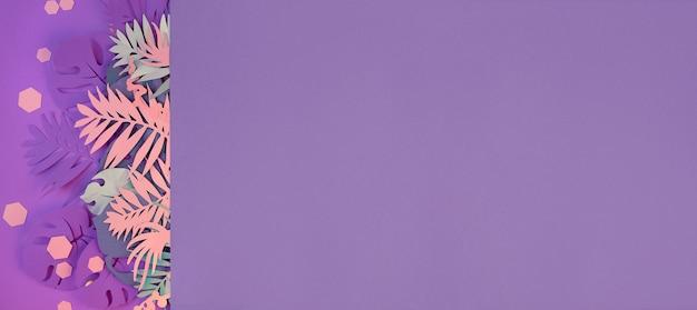 Exotische papierblätter und trendige sechsecke in den farben lila, pink und neon.
