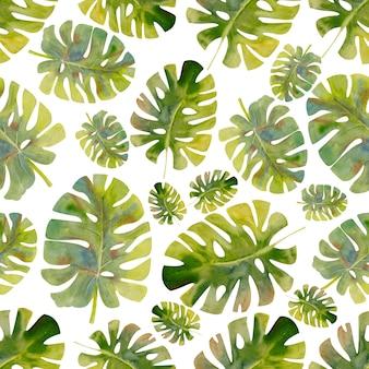 Exotische tropische blätter. nahtloses muster auf weißem lokalisiertem hintergrund. tapete mit mode-strand-kunstdruck. aquarellillustration