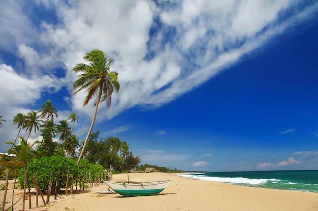 Exotische tropische ferien - ruhige, schöne strände der insel sri lanka. tangalle im süden