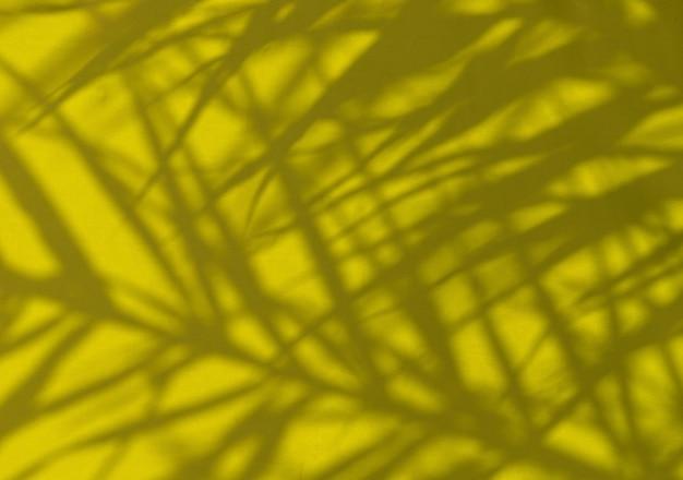 Exotische tropische palmenzweige auf hellgelbem regenschirm
