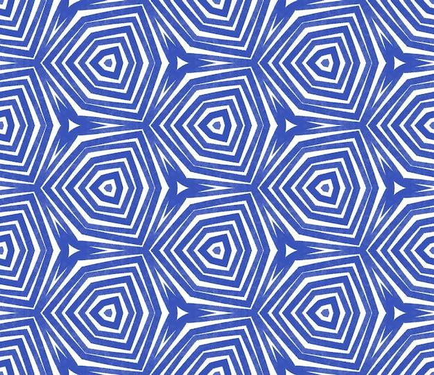 Exotisches nahtloses muster. indigo symmetrischer kaleidoskophintergrund. textilfertiger saftiger druck, bademodenstoff, tapete, verpackung. sommer bademode exotisches nahtloses design.