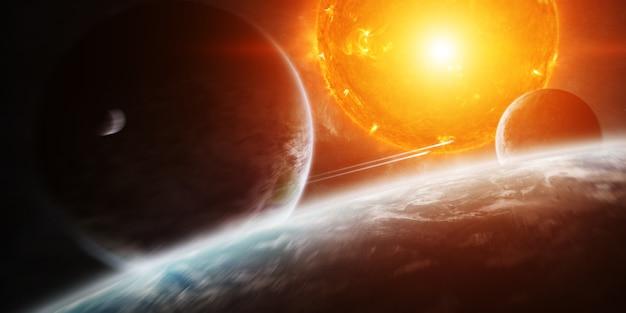 Explodierende sonne im weltraum nahe am planeten