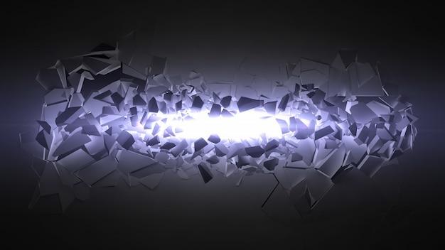 Explodierende wand mit lichtstrahl.