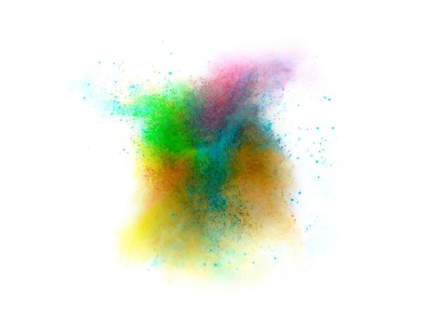 Explosion von farbigen pulver auf weißem hintergrund