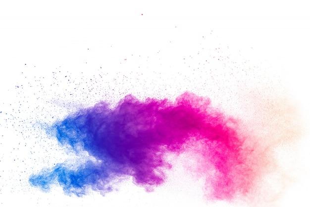 Explosion von mehrfarbigem pulver.