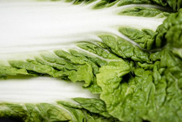 Extreme nahaufnahme grünes und weißes salatblatt