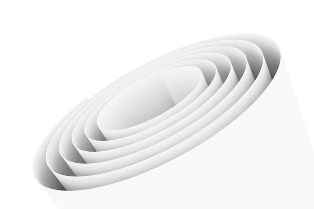 Extreme nahaufnahme papierrolle auf weißem hintergrund