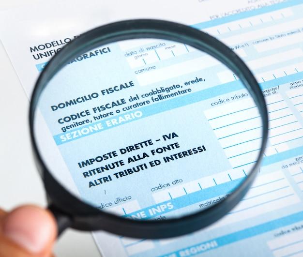 F24 für die steuererklärung in italien.