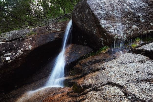 Fabelhafte gebirgsbäche, üppiges grün und blumen. aufgetautes quellwasser aus bergen. magische aussicht auf hohe berge
