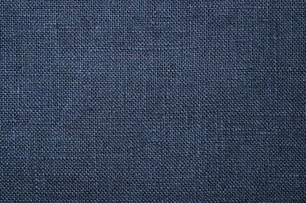 Fabric nahaufnahme. dunkelblauer leinenstrukturhintergrund