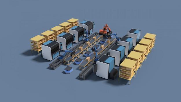 Fabrikautomation mit fahrerloses transportfahrzeug und roboterarm.