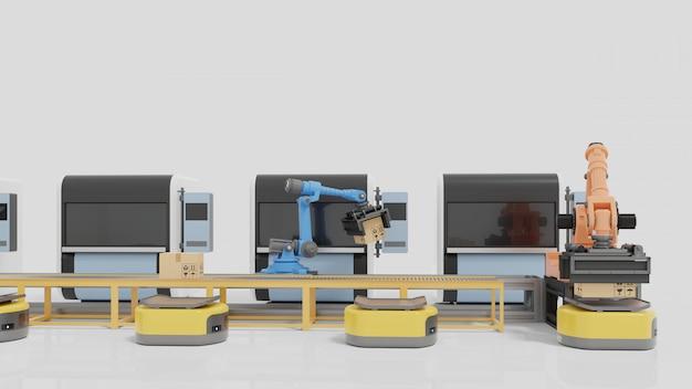 Fabrikautomation mit ftf, 3d-druckern und roboterarm.