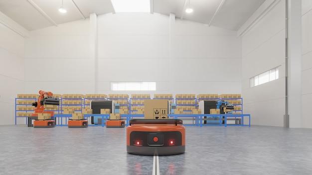 Fabrikautomation mit ftf und roboterarm im transport, um den transport mit sicherheit zu erhöhen.