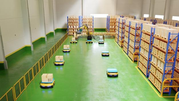 Fabrikautomation mit ftf und roboterarm im transport, um den transport sicherer zu erhöhen.