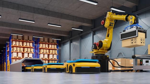 Fabrikautomation mit ftf und roboterarm im transport, um den transport sicherer zu erhöhen