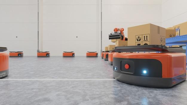 Fabrikautomation mit ftf und roboterarm im transport, um den transport sicherer zu gestalten.