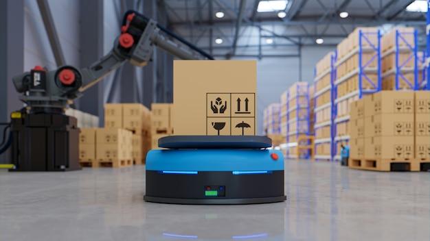 Fabrikautomatisierung mit agv und roboterarm im transportwesen, um den transport mit sicherheit zu erhöhen.3d-rendering