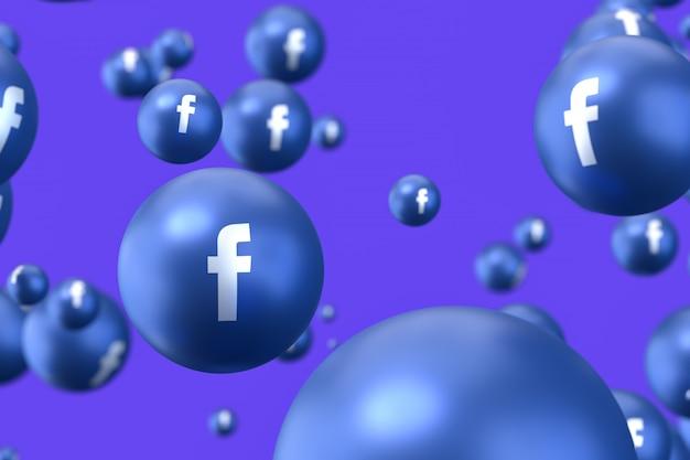 Facebook emoji 3d rendern, social media ballon symbol mit facebook up icons muster