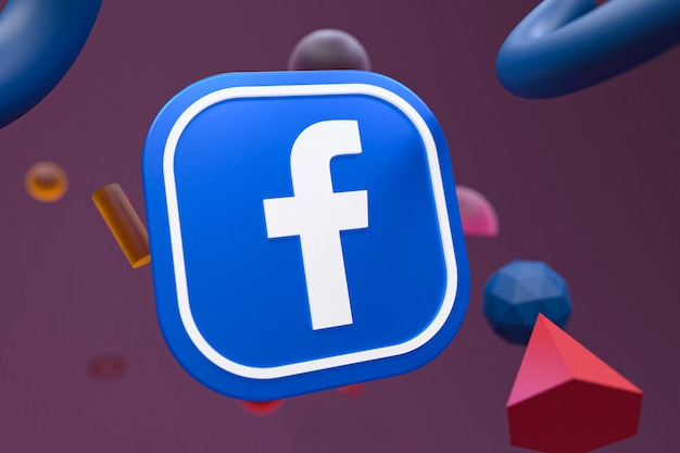 Facebook ig logo auf abstrakte geometrie