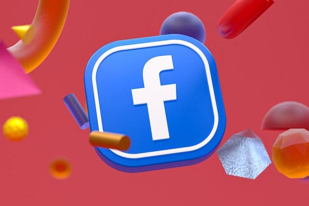 Facebook ig-logo auf abstraktem geometriehintergrund