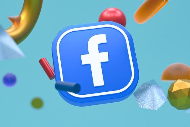 Facebook ig logo auf abstraktem geometrischem hintergrund
