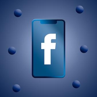 Facebook-logo auf dem 3d-rendering des telefonbildschirms