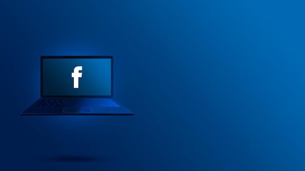 Facebook-logo auf dem laptop-bildschirm
