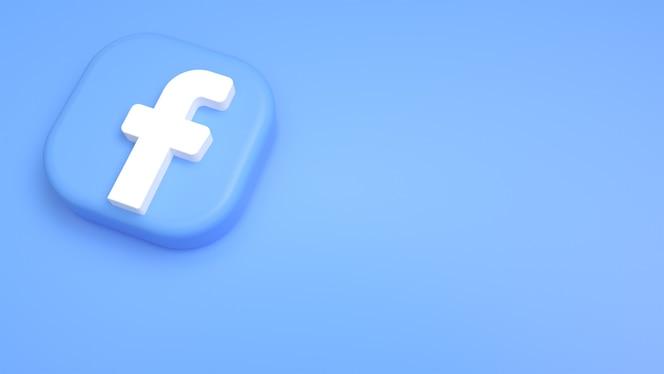 Facebook logo minimaler 3d-hintergrund