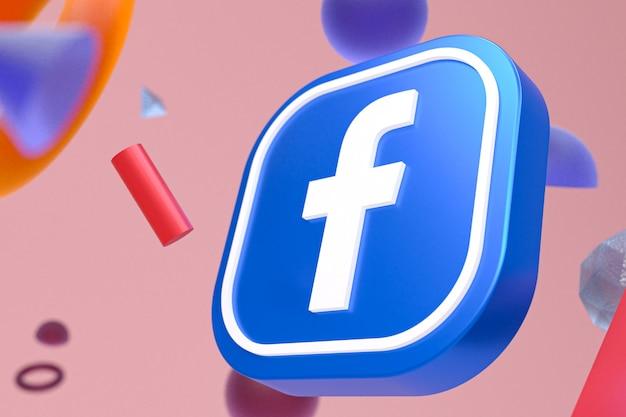 Facebook-logo mit abstrakten geometrischen formen, 3d-rendering