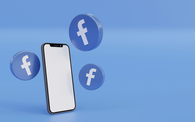Facebook-logo mit smartphone blauem hintergrunddesign saubere und einfache 3d-rendering-illustration