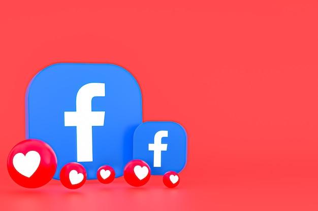 Facebook-reaktionen emoji 3d-rendering, social-media-ballonsymbol mit facebook-symbolmuster