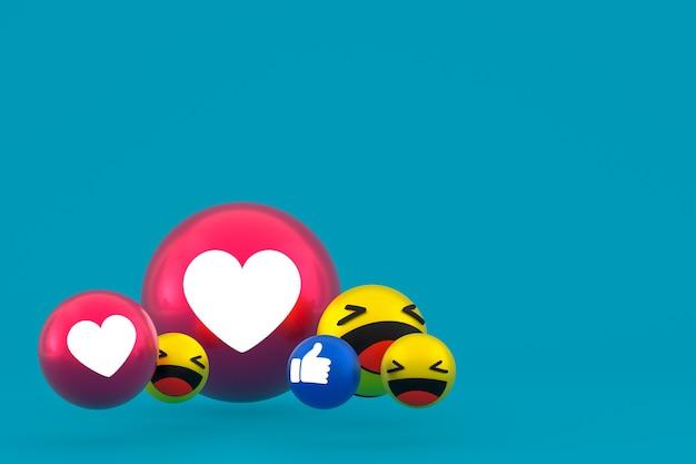 Facebook reaktionen emoji 3d rendern, social media ballon symbol auf blau