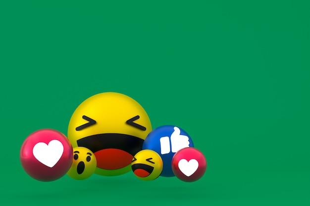 Facebook-reaktionen emoji 3d rendern, social-media-ballonsymbol auf grün