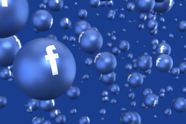 Facebook-reaktionen emoji 3d rendern, social-media-ballonsymbol mit facebook-symbolen