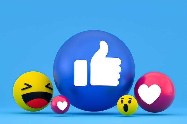 Facebook-reaktionen emoji, social-media-ballonsymbol mit facebook-symbolmuster