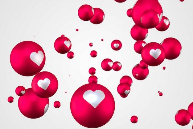 Facebook reaktionen herz emoji 3d rendering premium foto, social media ballon symbol mit herz, happy valentines day karte