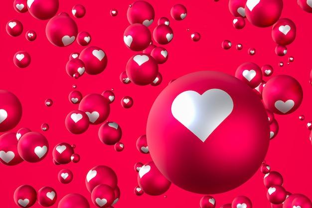 Facebook reaktionen herz emoji 3d rendern social media ballon symbol mit herz, happy valentines day karte