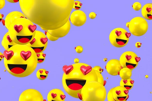 Facebook-reaktionen lieben emoji 3d-rendering, social-media-ballonsymbol mit like