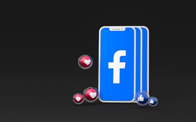 Facebook-symbol auf dem bildschirm des smartphones und facebook-reaktionen