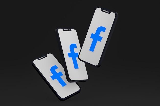 Facebook-symbol auf dem bildschirm smartphone oder handy 3d-rendering