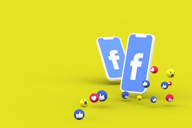 Facebook-symbol auf dem bildschirm smartphone oder handy und facebook reaktionen lieben, wow, wie emoji 3d rendern