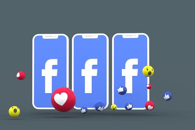 Facebook-symbol auf dem bildschirm smartphone oder handy und facebook-reaktionen