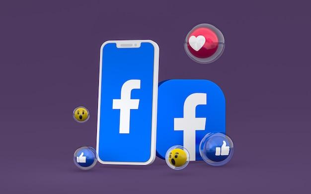 Facebook-symbol auf dem bildschirm smartphone- und facebook-reaktionen lieben, wow, wie emoji mit kopierraum