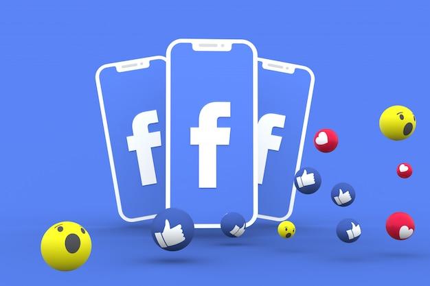 Facebook-symbol auf dem bildschirm smartphone und facebook-reaktionen