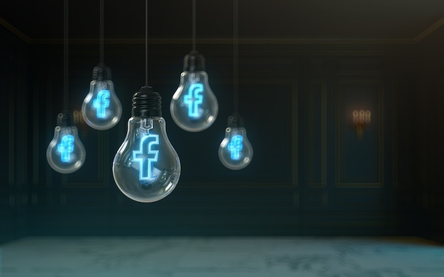 Facebook-symbol-glüheffekt in glühbirne 3d-rendering-premium-bucht-hintergrund für soziale banner