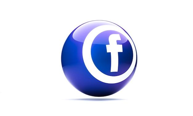 Facebook-symbol im 3d-kugelstil