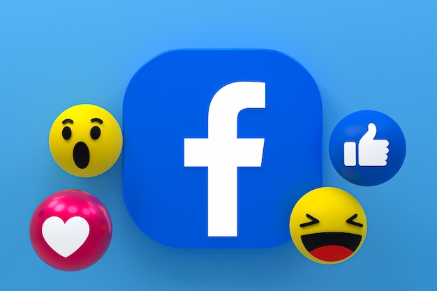Facebook-symbol reaktionen emoji 3d rendern, social-media-symbol