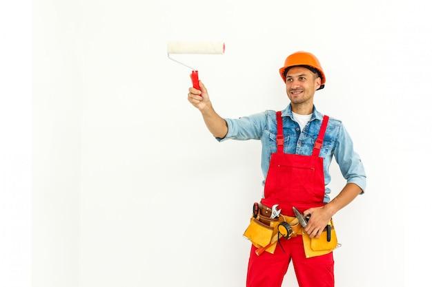 Fachmann des buildong lokalisiert auf weiß