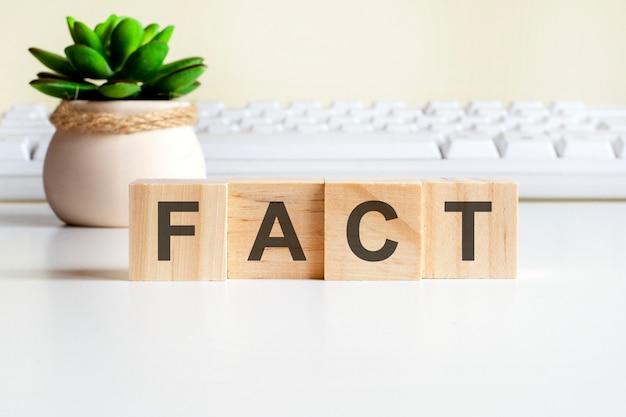 Fact-wort aus holzblöcken. vorderansichtskonzepte, grüne pflanze in einer blumenvase und weiße tastatur im hintergrund